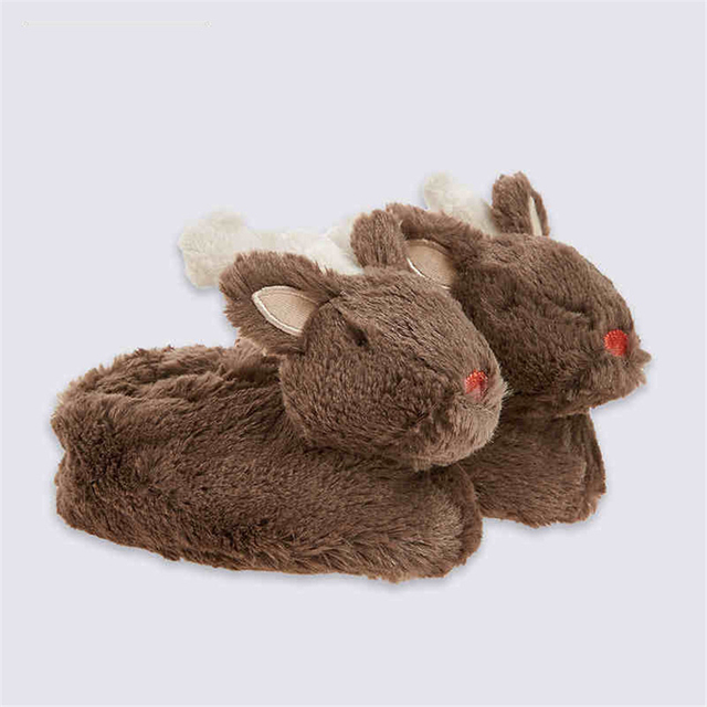 Christmas Deer Baby Winter Plush Slippers Warm Knitted Booties For New Year Animal Shoes Girl Newborn Boy Toddler Shoes 70A1003