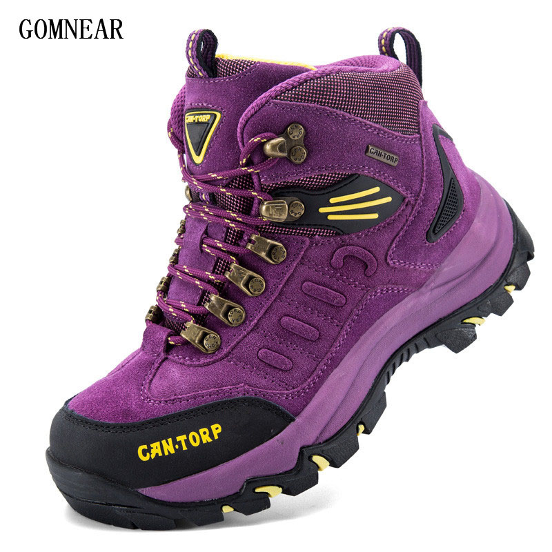 ФОТО GOMNEAR New Arrival Authentic Camel BIg Size Women's Hiking Shoes Lover's Mountain Outdoor Shoes genuine leather Hiking Sneaker