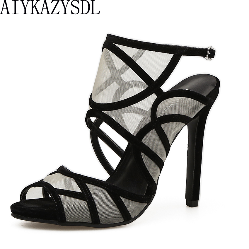 AIYKAZYSDL Women Elegant Sexy Sandals Pumps Mixed Color Mesh Strappy Open Toe Sandals Wedding Bridal Shoes Slingback High Heels aiykazysdl sexy 2018 women sandals