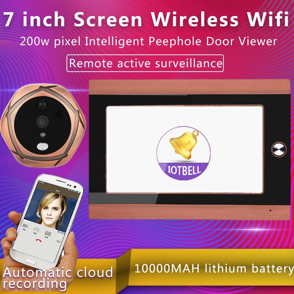 Mountainone 720P WiFi Wireless Digital Peephole Door Viewer 7inch Front Video Door Peephole Camera Wifi Doorbell doorphone цена