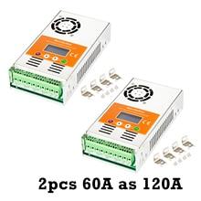 Makeblue controlador de carga solar, controlador de carga solar 120a mppt max. 160v 5600w painel automático para 12v 24v 36v 48v bateria pacote de 2 peças 60a v118