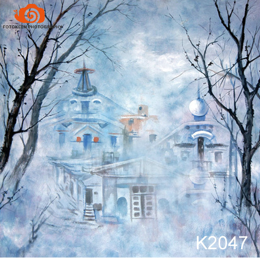 wholesale10X20ft Hand painted Muslin photo studio backdrops,christmas photographic background,fantasy castle newborn backdropK47
