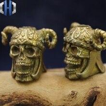 Pure Copper Sheep Skull Pendant Brass Helmet DIY Umbrella Rope Drop EDC Flashlight Paracord Beads