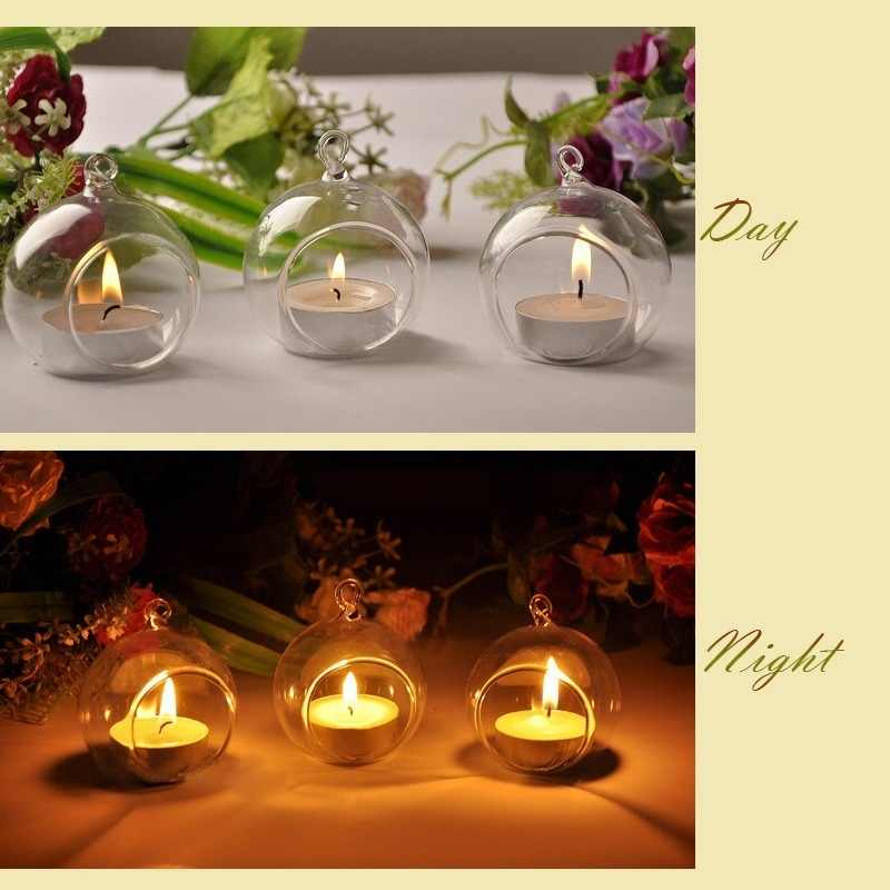 Candle Holder Candlestick Home Wedding Party Dinner Decor Romantic Candlestick Creative Crystal Glass Hanging