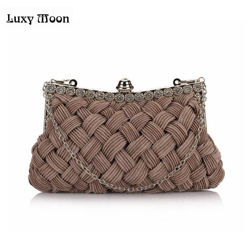 Luxy Moon knitted diamond women's day clutch Hot evening bag bride clutch with Chains tote party bag for evening full dress kiss lock chains evening bag