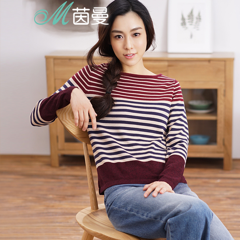 INMAN Women 2019 Spring Autumn NEW All-match  Casual O-Neck Striped Pullover Sweater Long Sleeve Autumn Knitting Tops