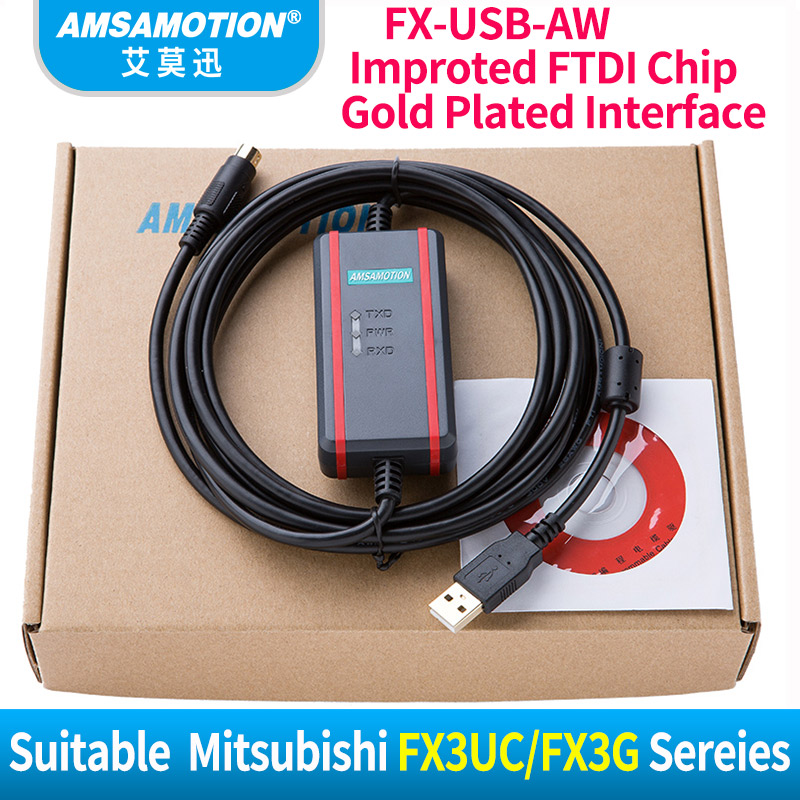 FX-USB-AW FTDI Type Communication Cable Suitable Mitsubishi FX1N/2N/FX3UC/FX3G Series PLC Programming Cable professional honest and fx series plc cable a900 touch screen fx9gt cab0