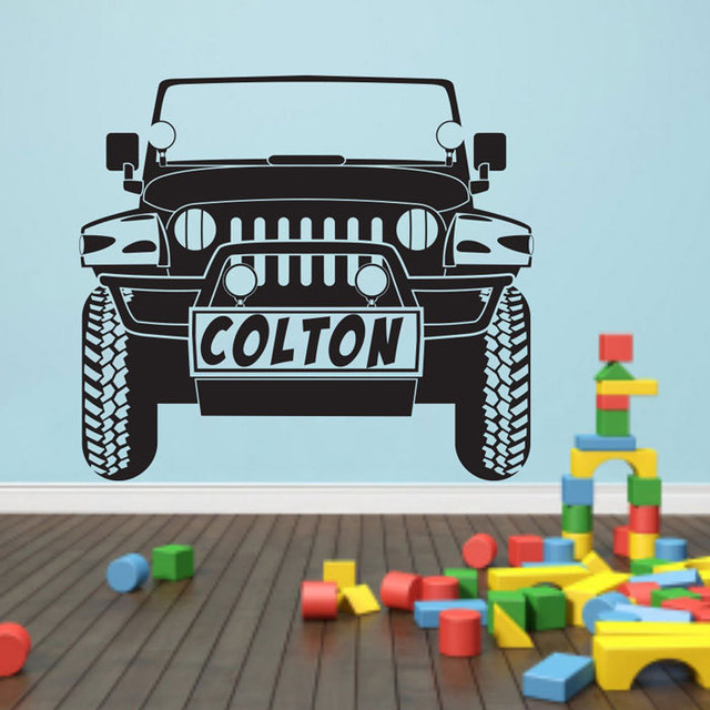 Personalized name car wall decal jeep car pattern custom name wall stickers for kids rooms boys