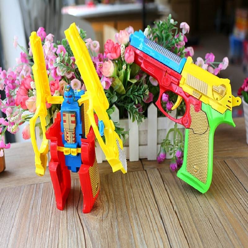 Hot Sale Toys Random Luminous Music Deformation Pistol Bullet Toys Outdoor Game Toy Refill Gun Color For Children Birthday Gifts