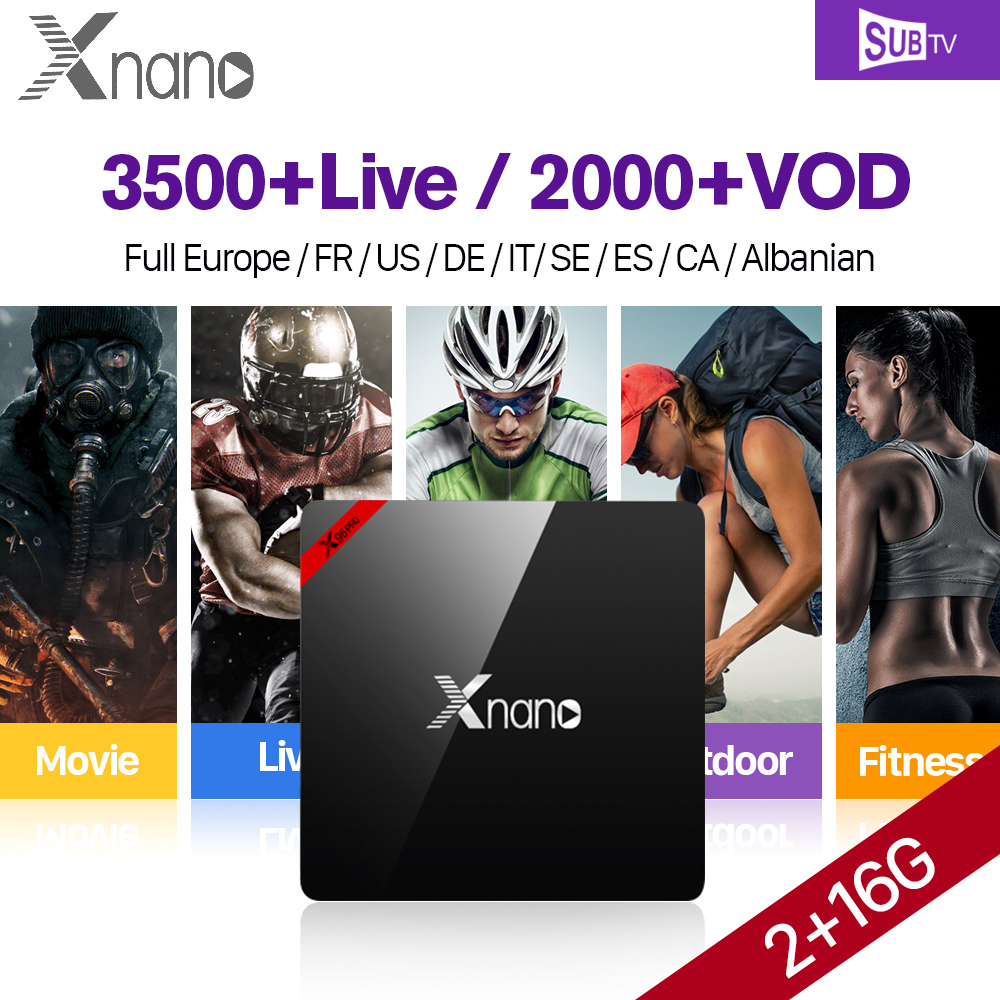 Xnano IPTV French Box 2G 16G S905X Android 6.0 Arabic France Sports Live Subscription 1 Year VOD Moives series
