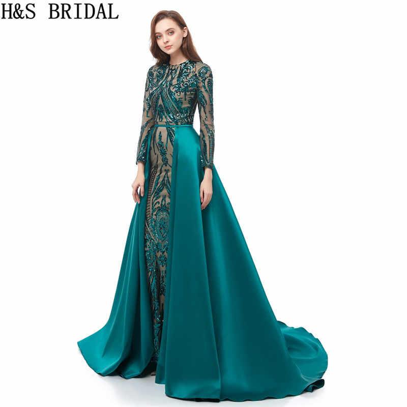 Вечернее платье Русалка с длинным рукавом, вечернее платье es с блестками, зеленые платья для выпускного вечера 2019, мусульманское арабское вечернее платье со съемным шлейфом
