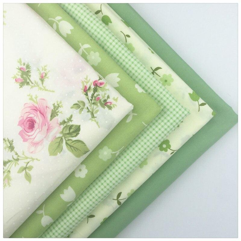 Зеленый Цветочный принт 40*50 см 100% хлопок Ткань Жир Квартал Комплект ткани DIY ручной работы в стиле пэчворк с длинными рукавами одежда для мал...