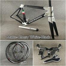 3 к матовый черный белый Colnago C60 карбоновая рама+ руль+ седло+ клетки для бутылок+ 50 мм карбоновый набор колес с NOVATEC A271 ступицы