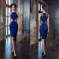 Comprimento do joelho Vestidos Mãe 2017 Jewel Neck Royla Azul Mãe de Vestidos de Noiva Bainha de Cetim Laço Do Ouro Apliques Formal vestido de festa vestido
