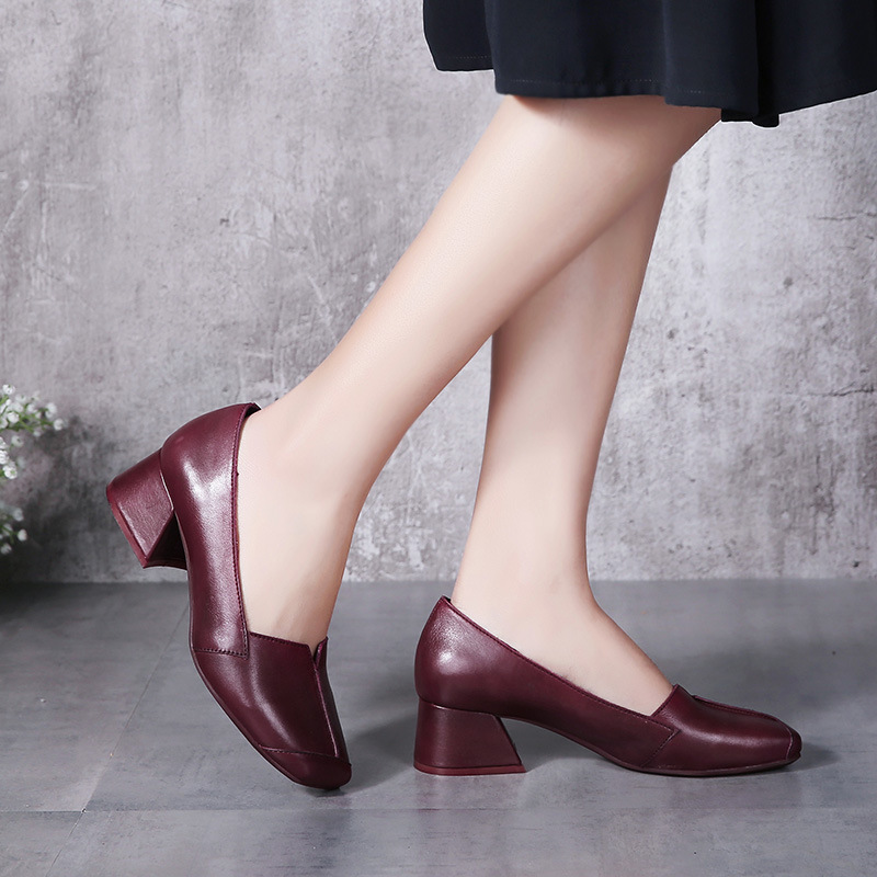 2017 Spring Explosion of Retro Women Shoes with Thick Heels Genuine Leather Handmade Brush Color Occupation Female Shoes A20-3
