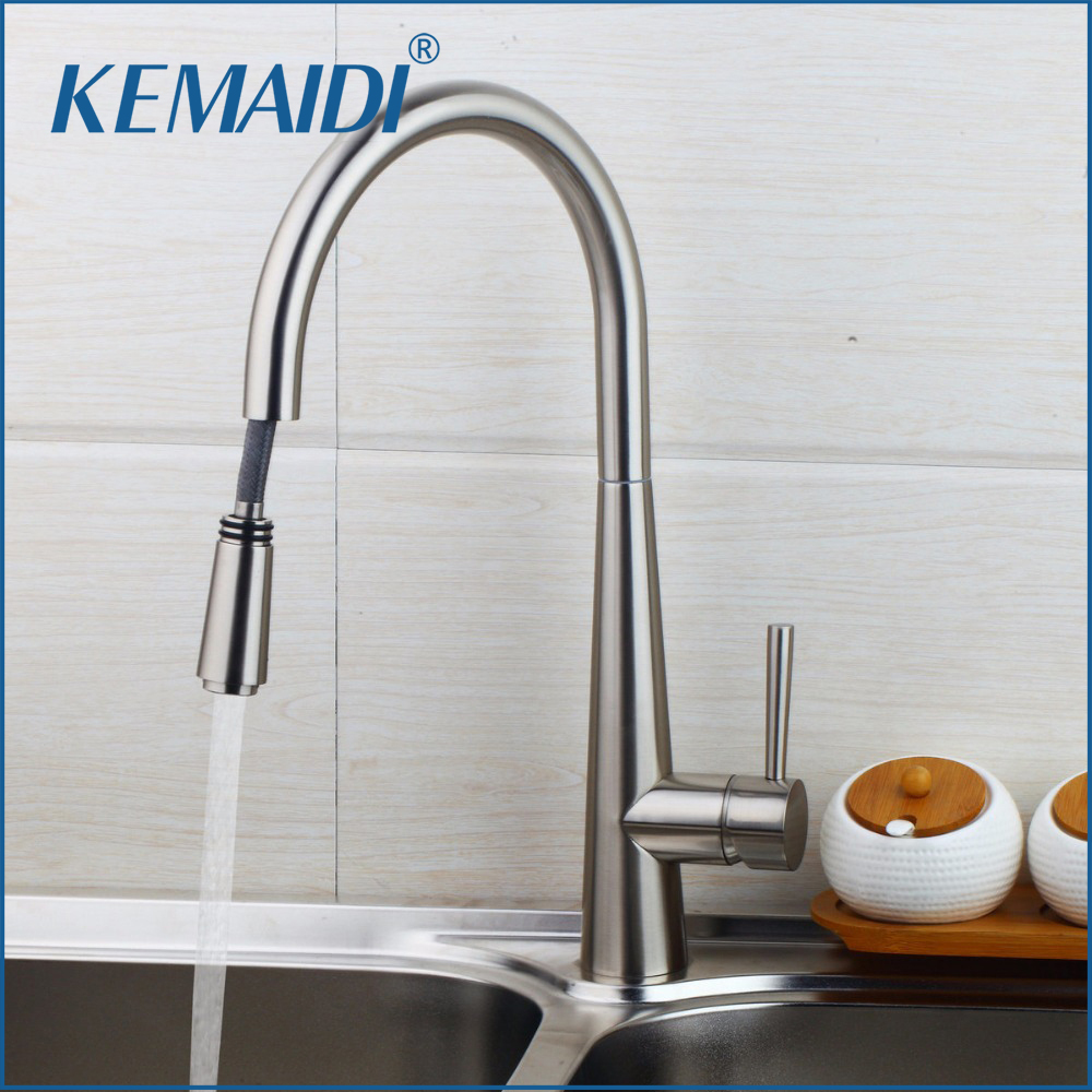 KEMAIDI Wholesale And Retail Pull out Spray Kitchen Faucet Mixer Tap Brushed Nickel Single Hand Kitchen Tap Mixer Brass kemaidi fashion deluxe kitchen faucet mixer tap deck mounted kitchen faucet nickel brushed brass material kitchen taps