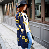Original New 2017 Brand Sweater Coat Women Autumn Winter Lady Slim Fashion Long Printed Knitted Cardigan
