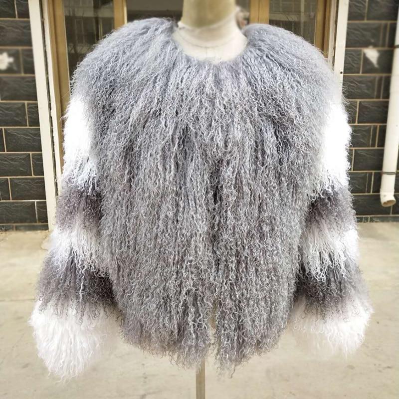 Женские настоящие монгольские овцы, пальто с мехом, Пляжная шерстяная куртка с мехом ягненка, одежда с индивидуальным настраиваемым мехом