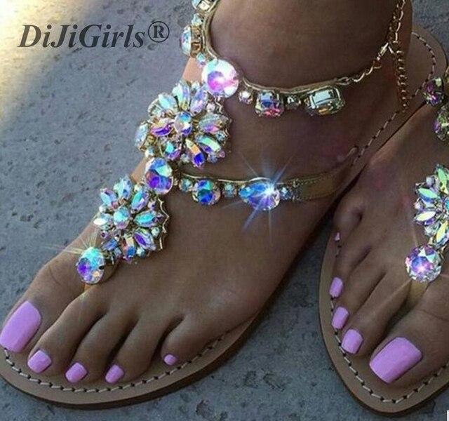 DiJiGirls New Bohemian Women Sandal Flat Heel Sandalias Thong Flip Flops Sapatos Rhinestones Chains Thong Gladiator Flat Sandals