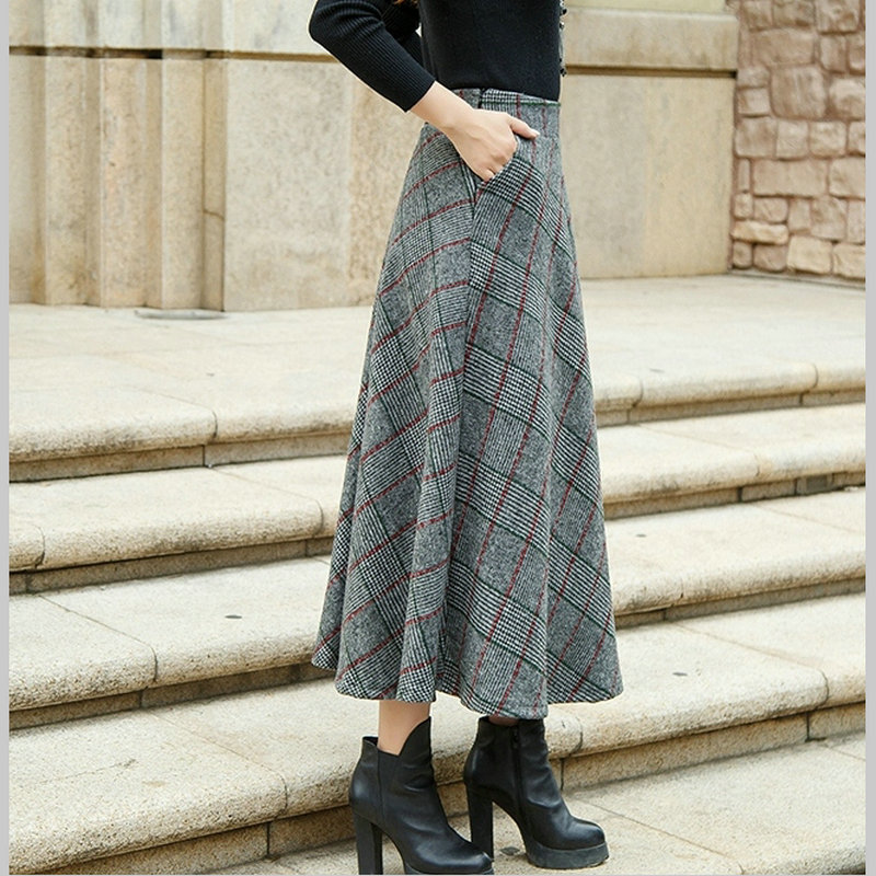 Provided Plaid Wool Skirt Women Fashion Elastic Height Waist Woolen Skirt Ankle-length Colored Lattice Plus Size Autumn Winter Skirts