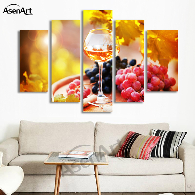 5 Panel Canvas Art Fruit Grape Wine Glass Picture For Kitchen Living Room  Wall Decor Canvas