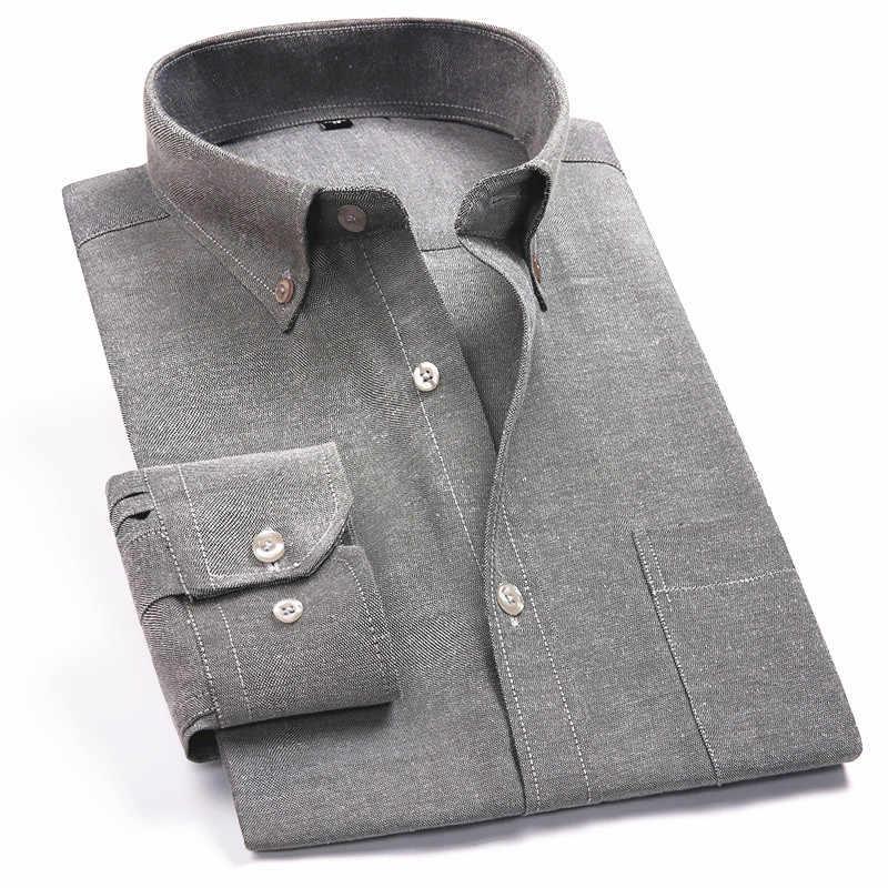 Оксфордская Мужская Повседневная рубашка с длинными рукавами клетчатая полосатая 2019 Весенняя приталенная мужская деловая рубашка брендовая Удобная дышащая