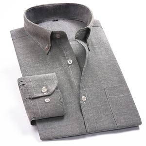 Image 4 - Oxford erkek rahat uzun kollu gömlek ekose çizgili 2020 bahar Slim Fit erkek İş elbise gömlek marka rahat nefes