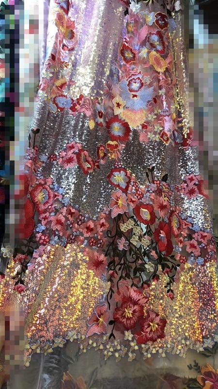 David 3.1304 modne cekiny tiul koronka haft francuski koronki tkaniny netto na sukienka na imprezę w Koronka od Dom i ogród na  Grupa 1