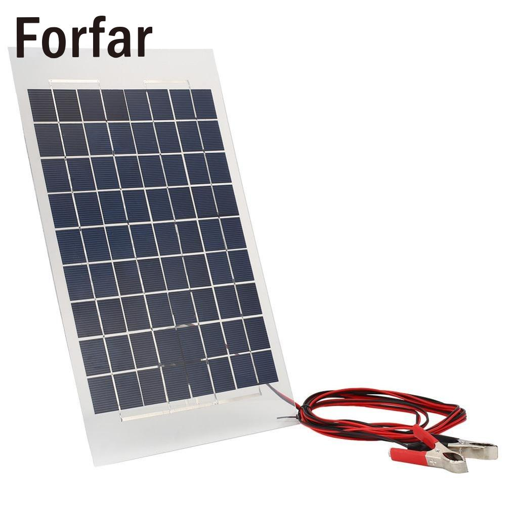 Forfar 18V 10W Solar Charger Panel External Portable Battery for Car W/Crocodile Clips