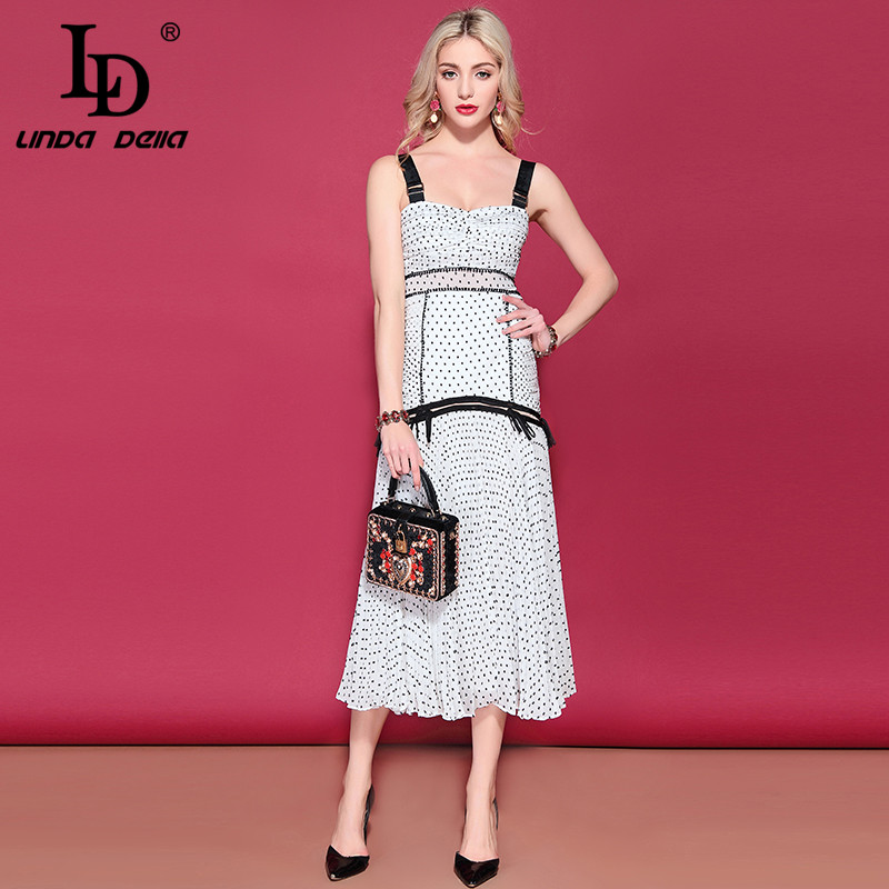 LD LINDA DELLA Fashion Runway Summer Vacation Party Dresses Women s Spaghetti Strap Casual Dot Printed