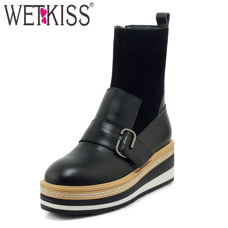 WETKISS Cow Suede Women Ankle Boots Round Toe Footwear Flat With Female Boot Leather Casual Platform Shoes Woman Winter 2018 New women ankle boots handmade genuine leather woman boots autumn winter round toe soft comfotable retro boot shoes female footwear