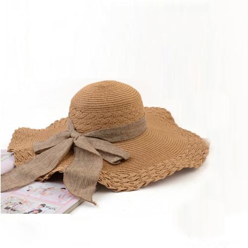 Summer big brim beach cap large sun-shading hat women's strawhat folding sunhat free shipping