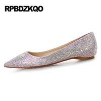 Red Silver Wedding Blue Sparkling Crystal Brand 9 Rhinestone Large Size Designer Shoes Women Luxury 2017