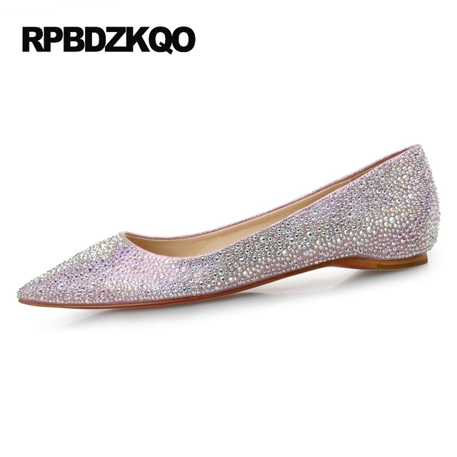 Red Silver Wedding Blue Sparkling Crystal Brand 9 Rhinestone Large Size  Designer Shoes Women Luxury 2017