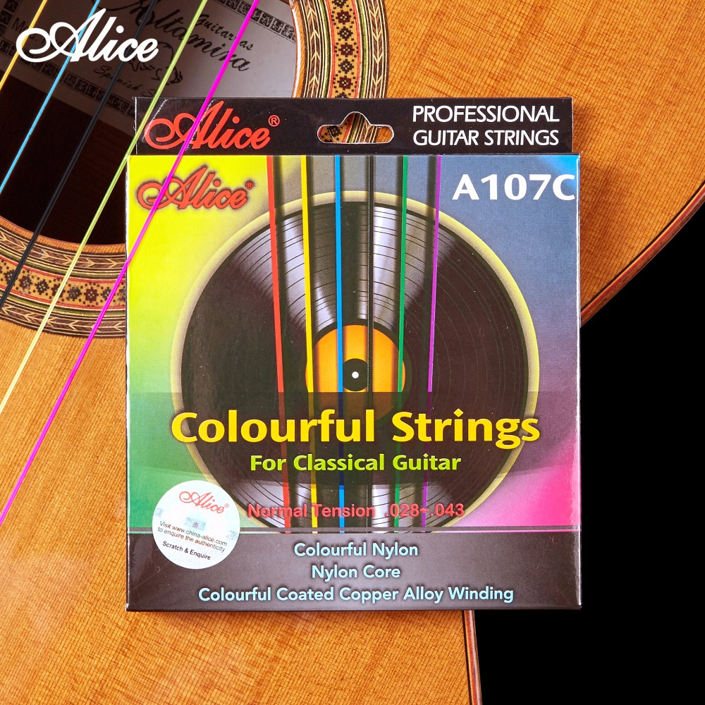 Colorful Classical Guitar Strings Colorful Nylon Colorful Coated Copper Alloy Wound 0285 044 inch Alice A107C savarez 510ar nylon classical guitar strings high quality performance level guitar strings