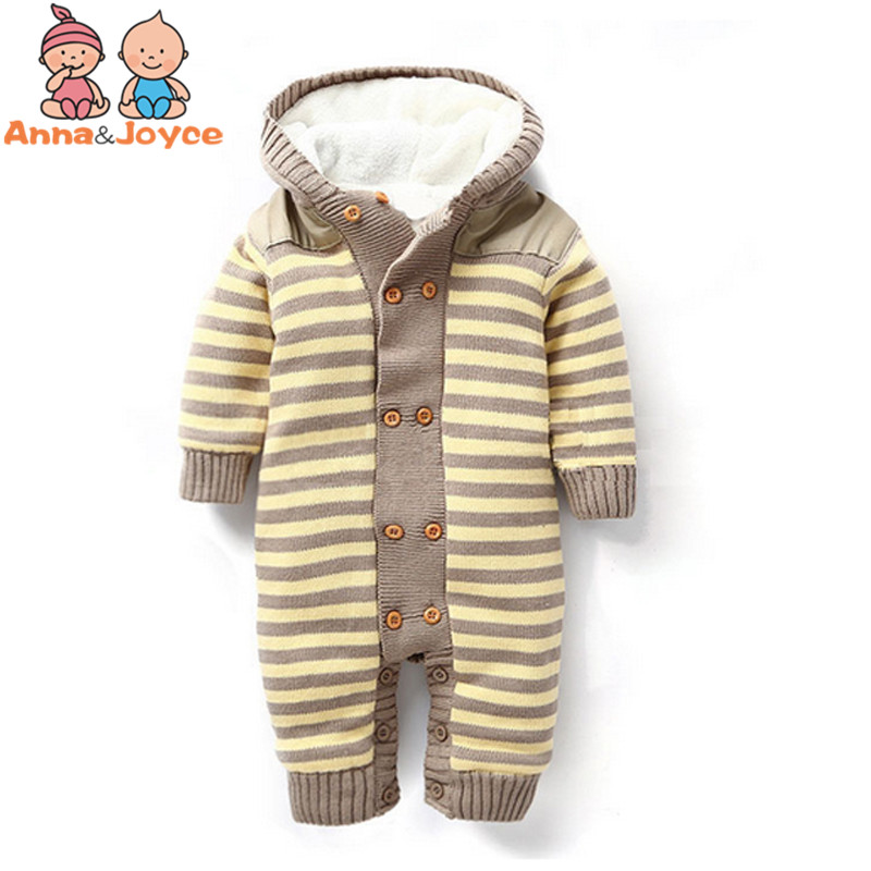 Baby Double Breasted Thickening Rompers Autumn and Winter Warm Soft Romper CottonClimb Clothes Suit 0 24months