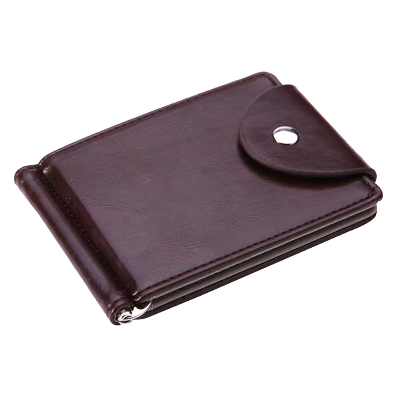 Fashion Mini Men's Leather Money Clip Wallet Pocket Purse With Metal Clamp Man Slim Credit Card Bag ID Holder For Male
