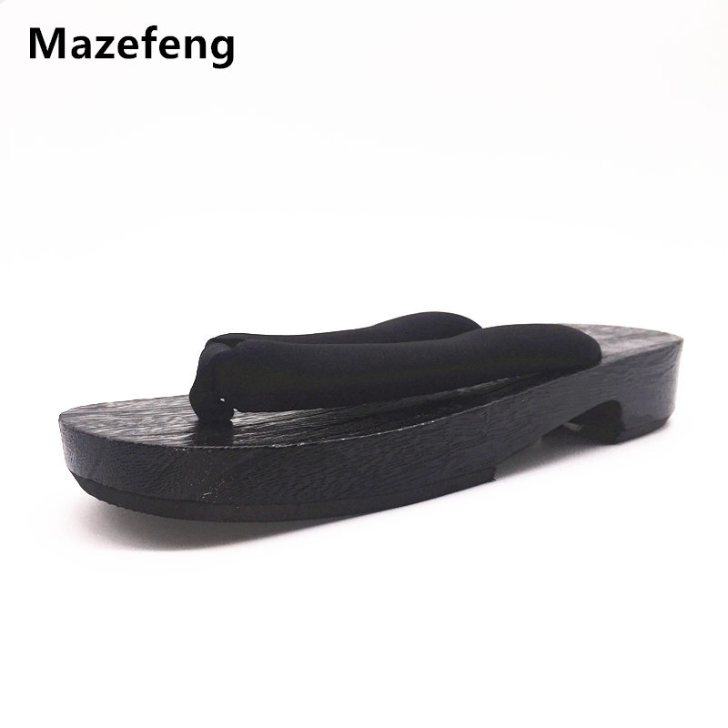 Mazefeng 2017 Summer Flip Flops Women Slippers designer Japanese Geta Clogs wooden slippers shoes Women Clogs Geta Cosplay Flats summer women casual jelly shoes beach slippers breathable waterproof clogs for women hollow slippers flip flops shoes mule clogs