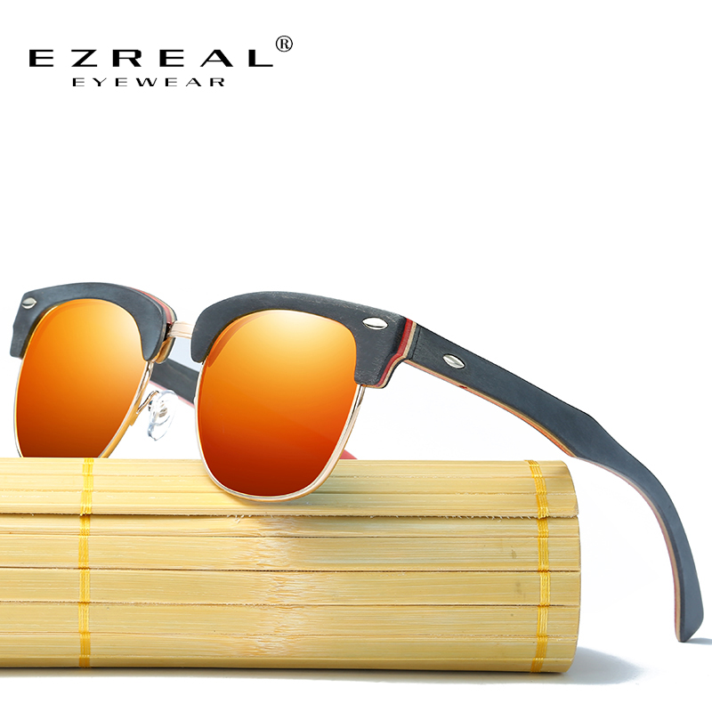 EZREAL Retro Rivet Polarized Wood Sunglasses Men Classic Brand Designer Unisex Bamboo Sun Glasses Half Frame