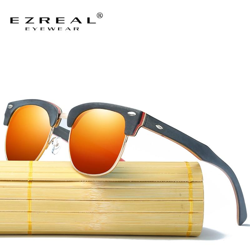 EZREAL Retro Rivet Polarized Wood Sunglasses Men Classic Brand Designer Unisex Bamboo Sun Glasses Half Frame Oculos Gafas