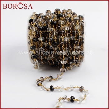 BOROSA Gold Color Roundel Natural Black Watermelon Crystal Faceted Beads Wire Wrapped Rosary Chains for Necklace Jewelry JT187