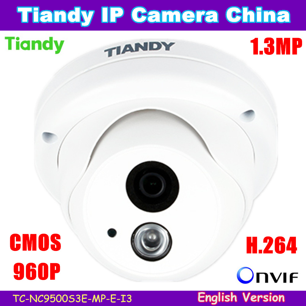 "Newest Arrival! Original Tiandy IP Camera 1/3"" Waterproof Outdoor Security Camera 960p 1.3MP Support English version Free ship"