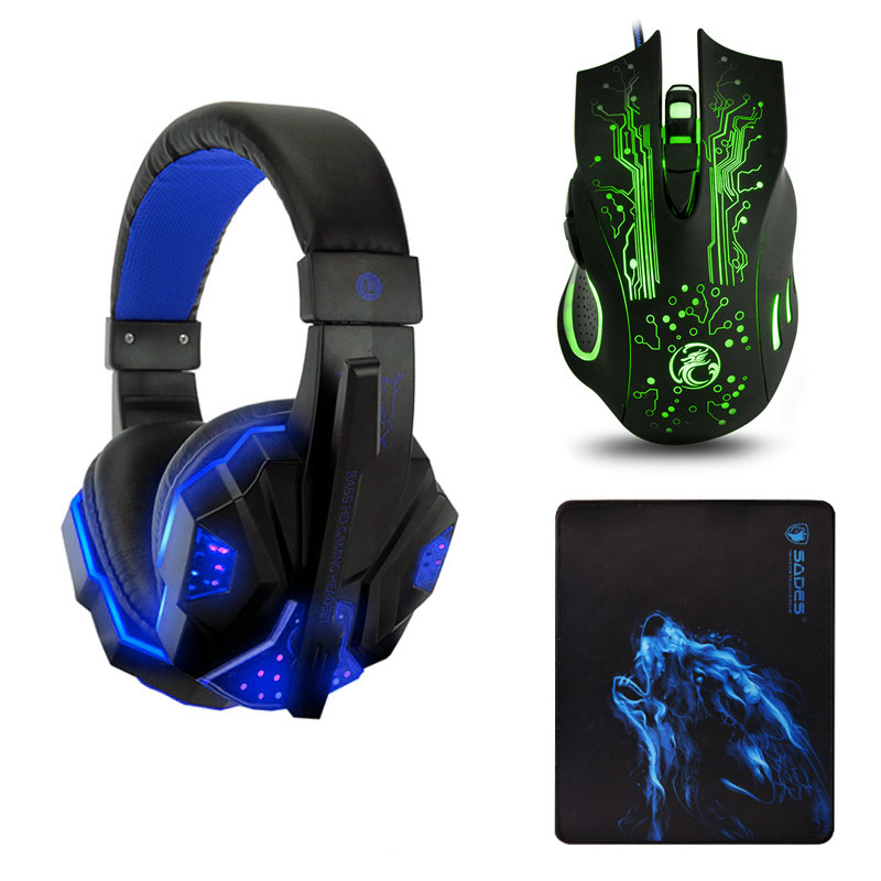 Soyto SY830MV Deep Bass Game Headphone Stereo Over-Ear Gaming Headset Headband Earphone with Light for Computer PC Gamer
