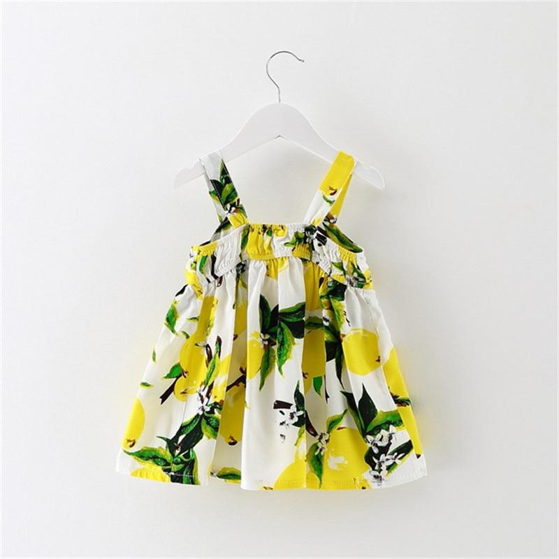 dfadfcb2185b Newborn Baby Clothes Sleeveless Lemon Print Bow Dress 2018 Summer ...