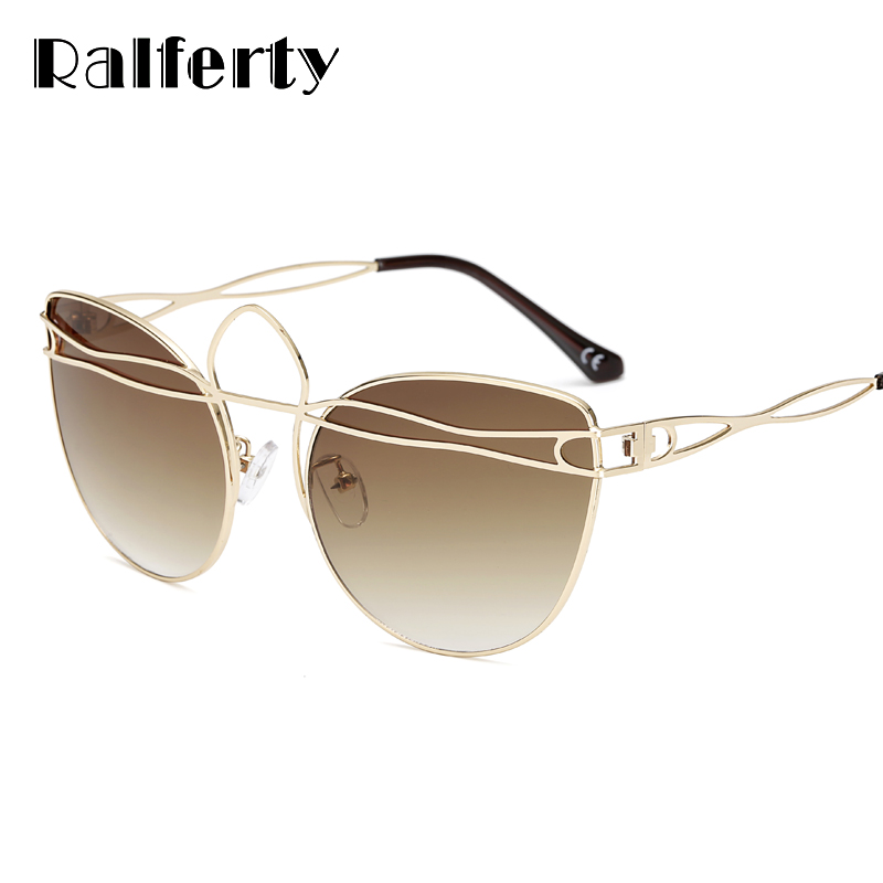 Ralferty 2018 Luxury Women Sunglasses Vintage Retro Cat Eye Sunglasses For Women Brown Gradient Sun Glasses Female lunette A03