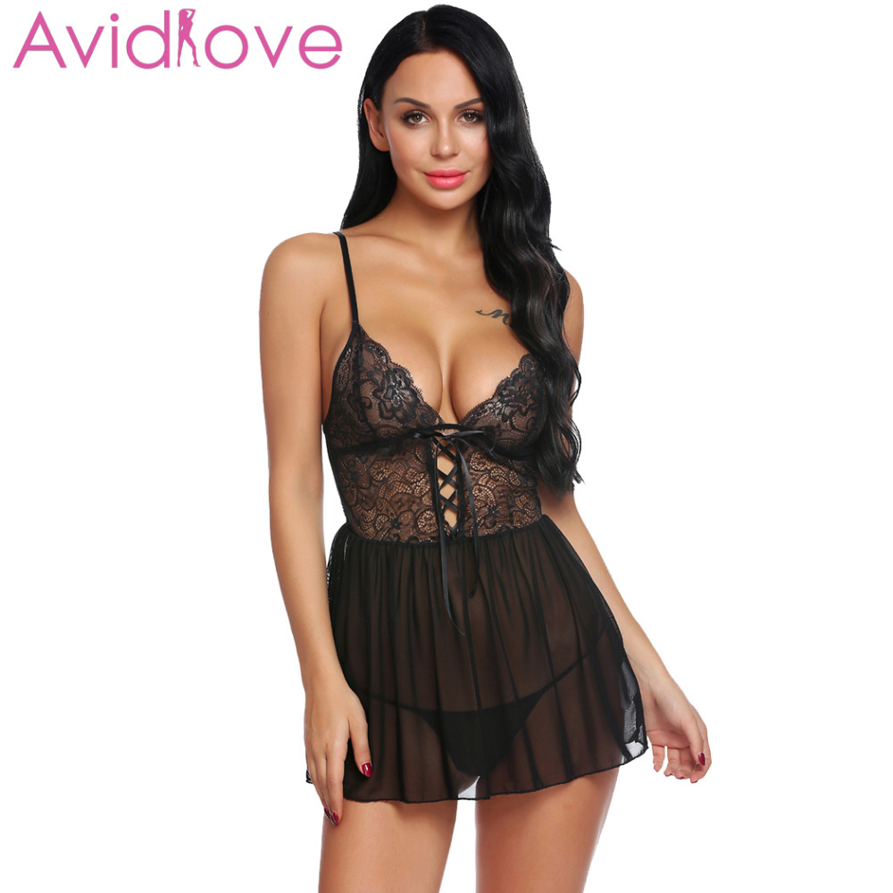 Avidlove Women Lenceria Costumes Sexy Lingerie Transparent Erotic Underwear Set Sheer Babydoll G-string