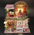 Miniatura de Móveis Casa de Bonecas artesanais Diy Casas de Boneca Em Miniatura Casa De Bonecas De Madeira Brinquedos Para Crianças Presente de Aniversário Artesanato D015