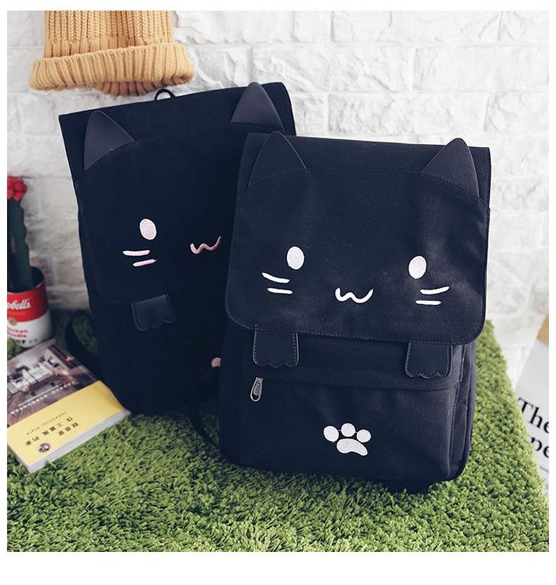 HTB1Ghaba8Gw3KVjSZFwq6zQ2FXap Cute Cat Canvas Backpack Cartoon Embroidery Backpacks For Teenage Girls School Bag Fashio Black Printing Rucksack mochilas XA69H