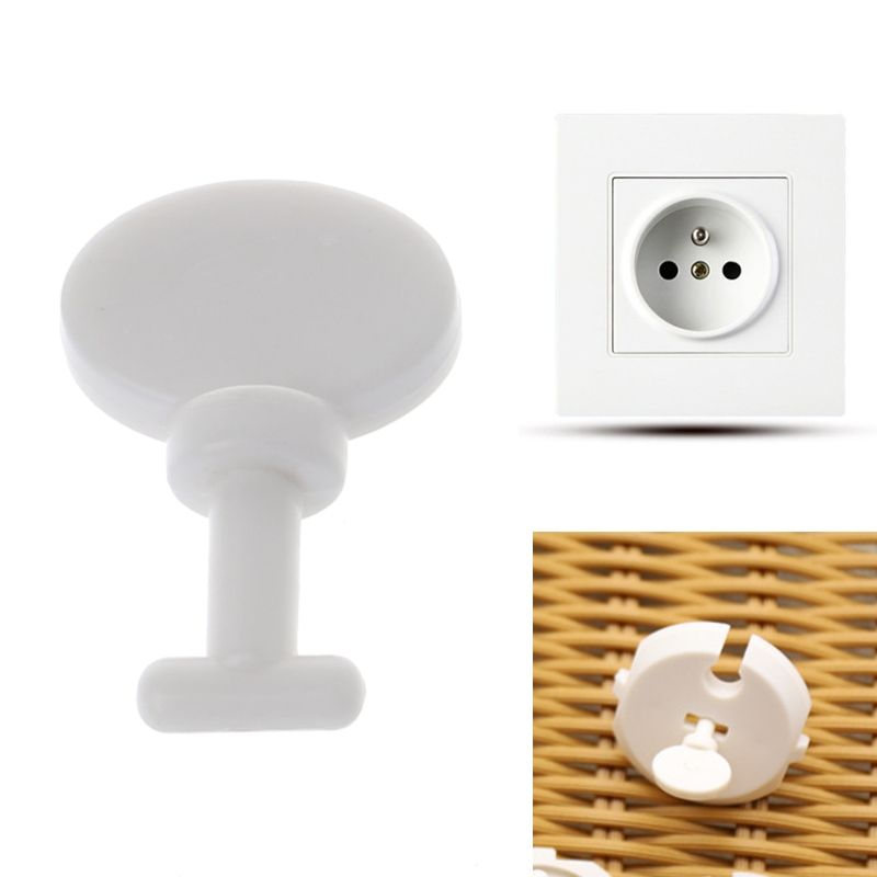 5 Pcs Children Care Key For French Standard Baby Safety Plug Socket Protective Cover