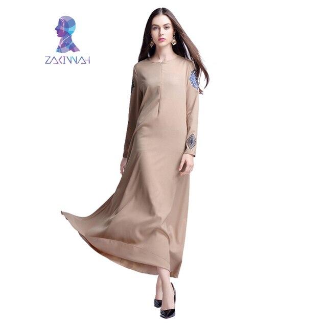 Женская Твердые Печатные Мусульманин Платье С Длинным Платье Дубай Кафтан-Кафтан Абая Мусульманский абая Джилбаба Исламская Турецкий Арабский Платье Халат